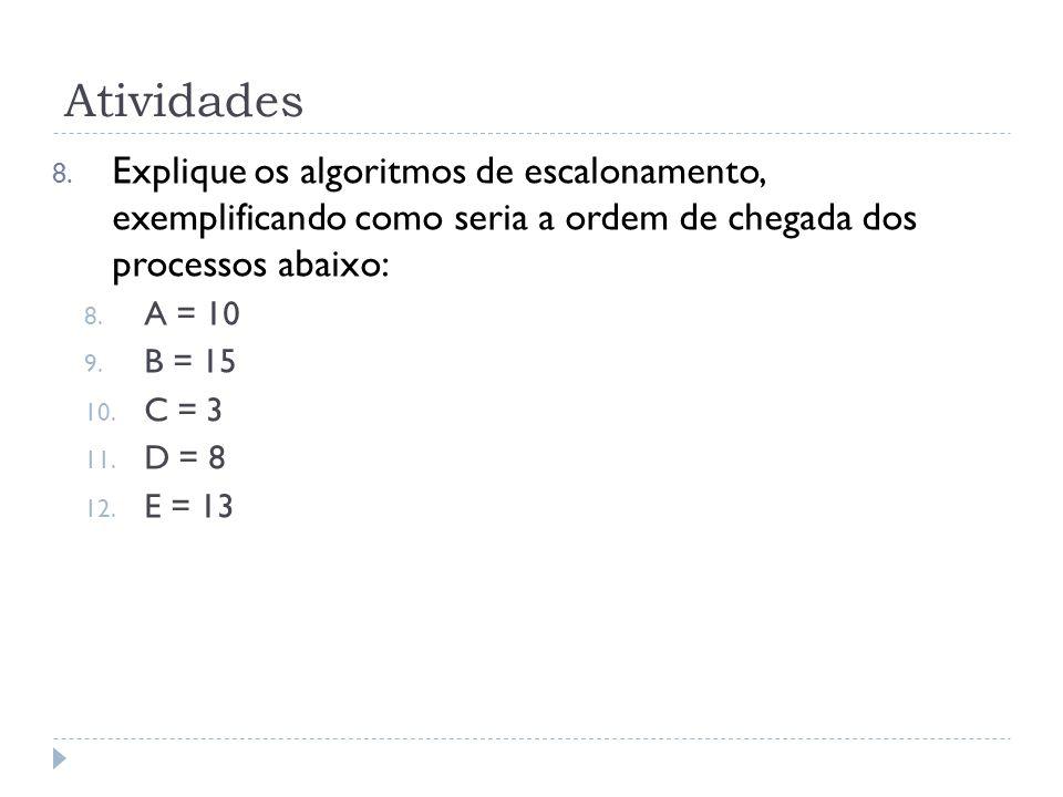 Atividades Explique os algoritmos de escalonamento, exemplificando como seria a ordem de chegada dos processos abaixo: