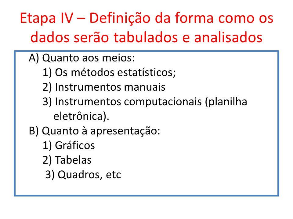 Etapa IV – Definição da forma como os dados serão tabulados e analisados
