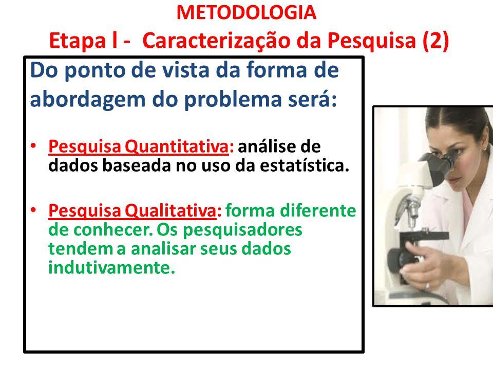 METODOLOGIA Etapa l - Caracterização da Pesquisa (2)