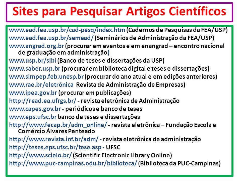 Sites para Pesquisar Artigos Científicos
