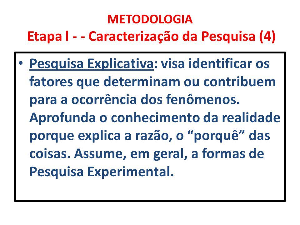 METODOLOGIA Etapa l - - Caracterização da Pesquisa (4)