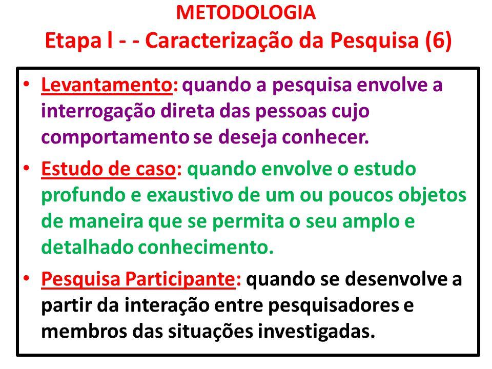 METODOLOGIA Etapa l - - Caracterização da Pesquisa (6)