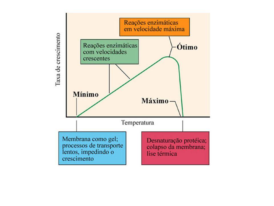 Temperaturas cardeais dos microrganismos (Adaptado de Madigan et al
