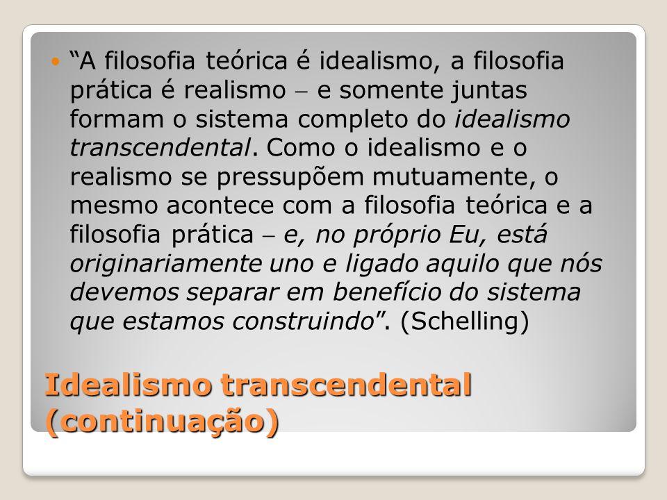 Idealismo transcendental (continuação)