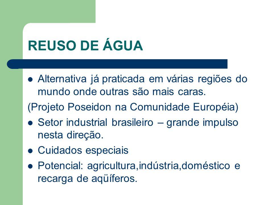 REUSO DE ÁGUA Alternativa já praticada em várias regiões do mundo onde outras são mais caras. (Projeto Poseidon na Comunidade Européia)