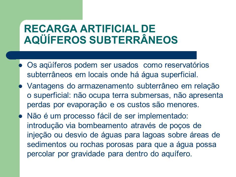 RECARGA ARTIFICIAL DE AQÜÍFEROS SUBTERRÂNEOS