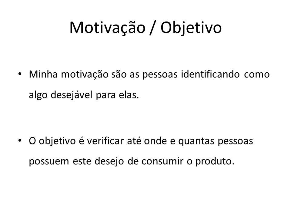 Motivação / Objetivo Minha motivação são as pessoas identificando como algo desejável para elas.