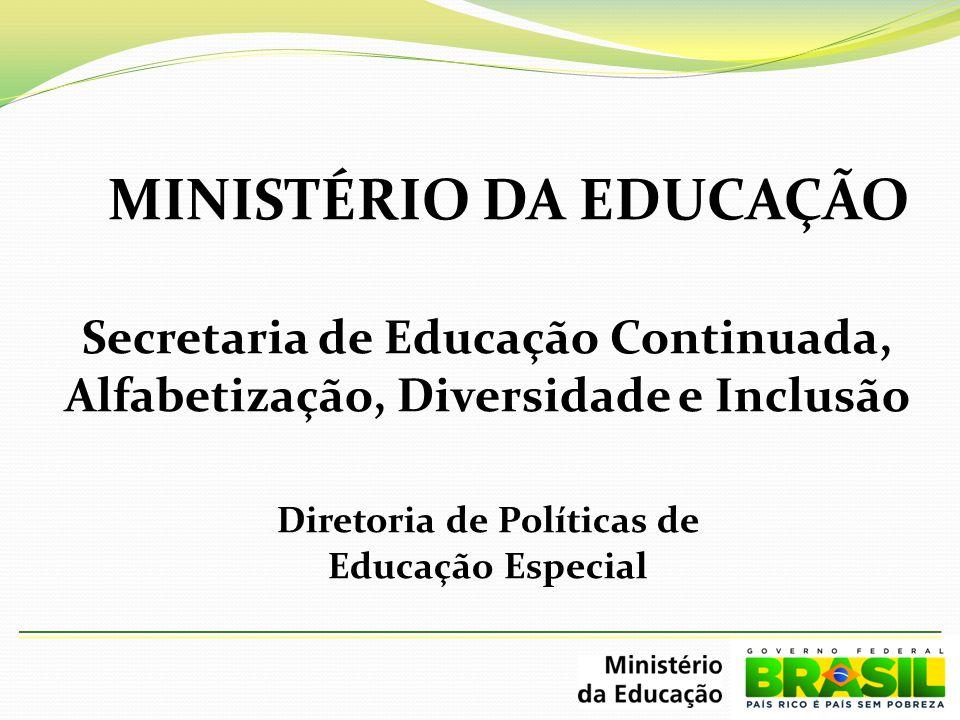 MINISTÉRIO DA EDUCAÇÃO Secretaria de Educação Continuada, Alfabetização, Diversidade e Inclusão Diretoria de Políticas de Educação Especial