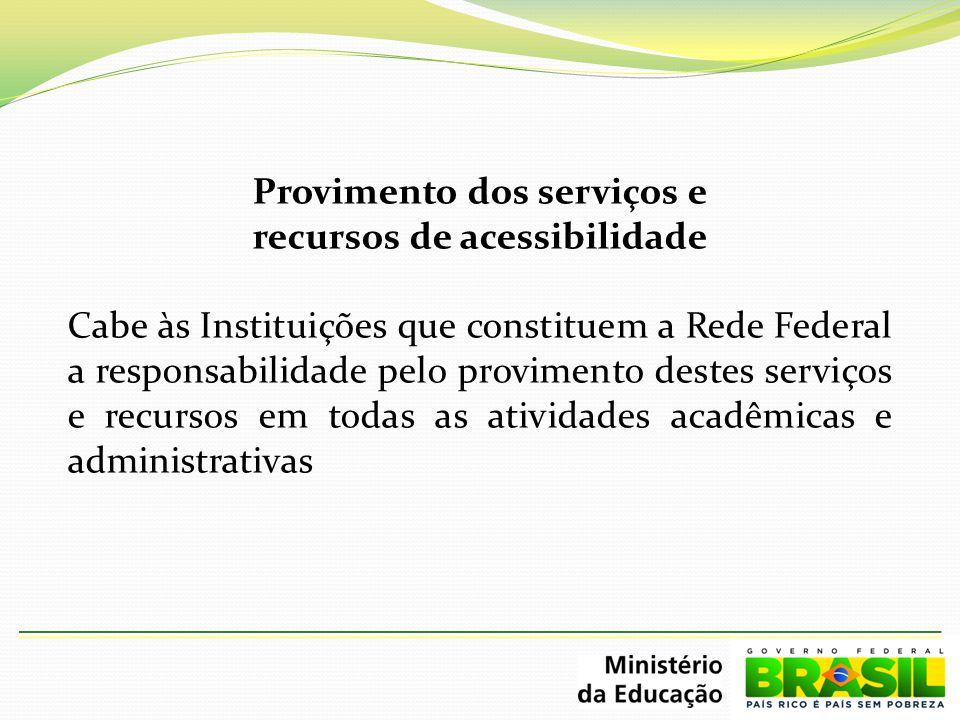 Provimento dos serviços e recursos de acessibilidade