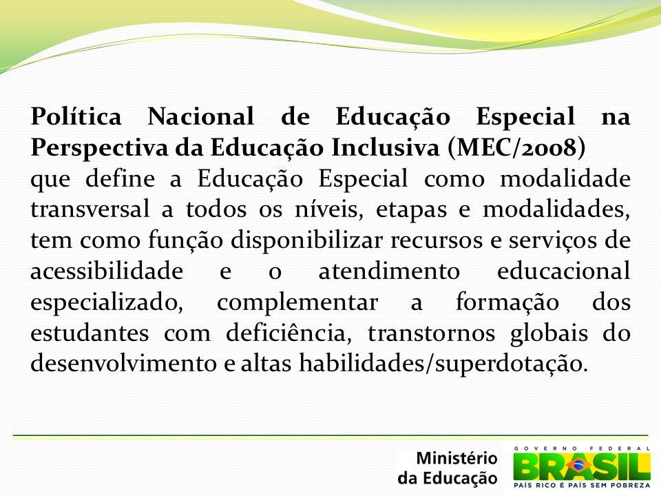 Política Nacional de Educação Especial na Perspectiva da Educação Inclusiva (MEC/2008)