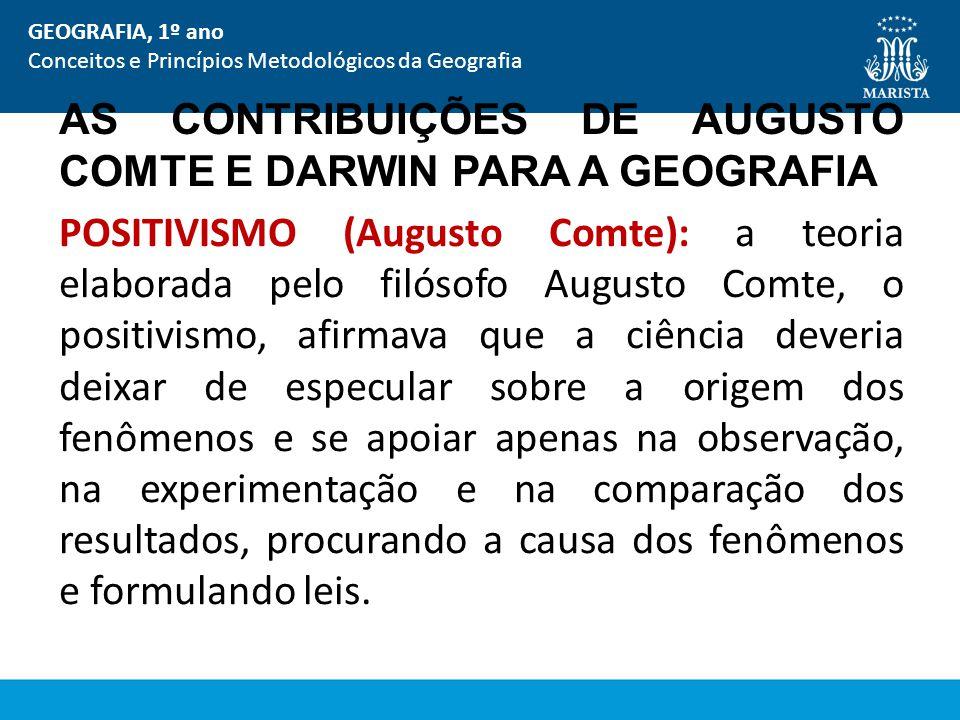 AS CONTRIBUIÇÕES DE AUGUSTO COMTE E DARWIN PARA A GEOGRAFIA