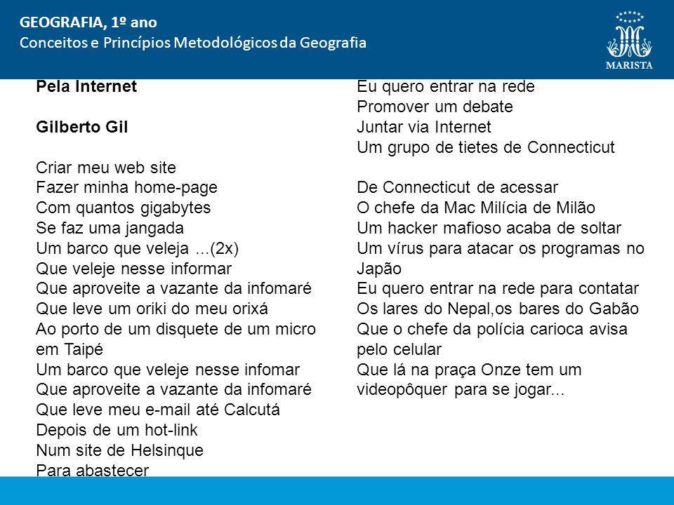 GEOGRAFIA, 1º ano Conceitos e Princípios Metodológicos da Geografia. Pela Internet.