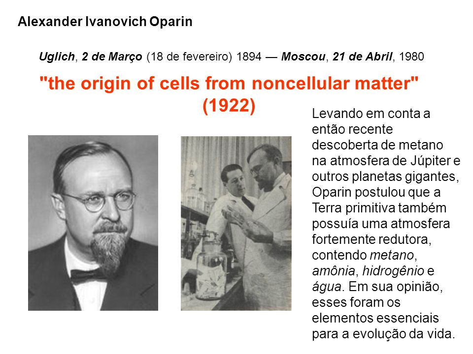 the origin of cells from noncellular matter (1922)