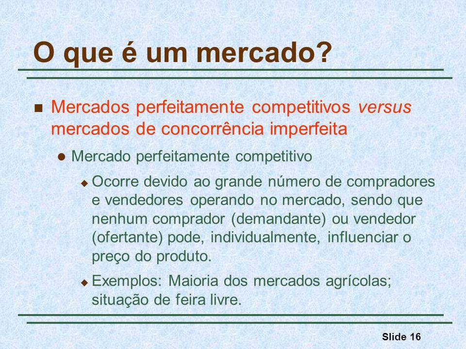 O que é um mercado Mercados perfeitamente competitivos versus mercados de concorrência imperfeita.