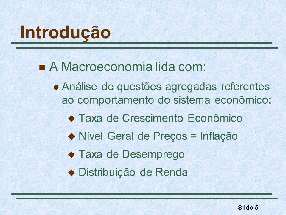 Introdução A Macroeconomia lida com:
