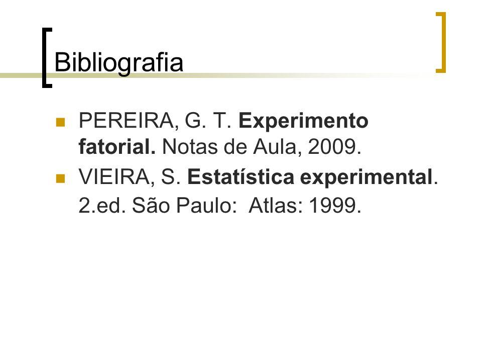 Bibliografia PEREIRA, G. T. Experimento fatorial. Notas de Aula, 2009.