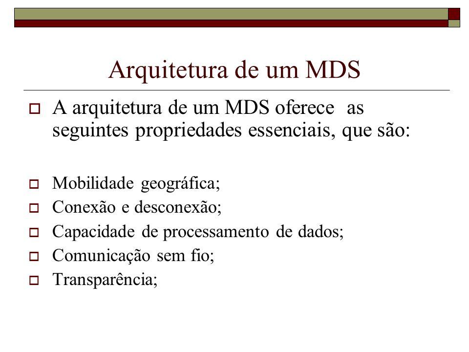 Arquitetura de um MDS A arquitetura de um MDS oferece as seguintes propriedades essenciais, que são: