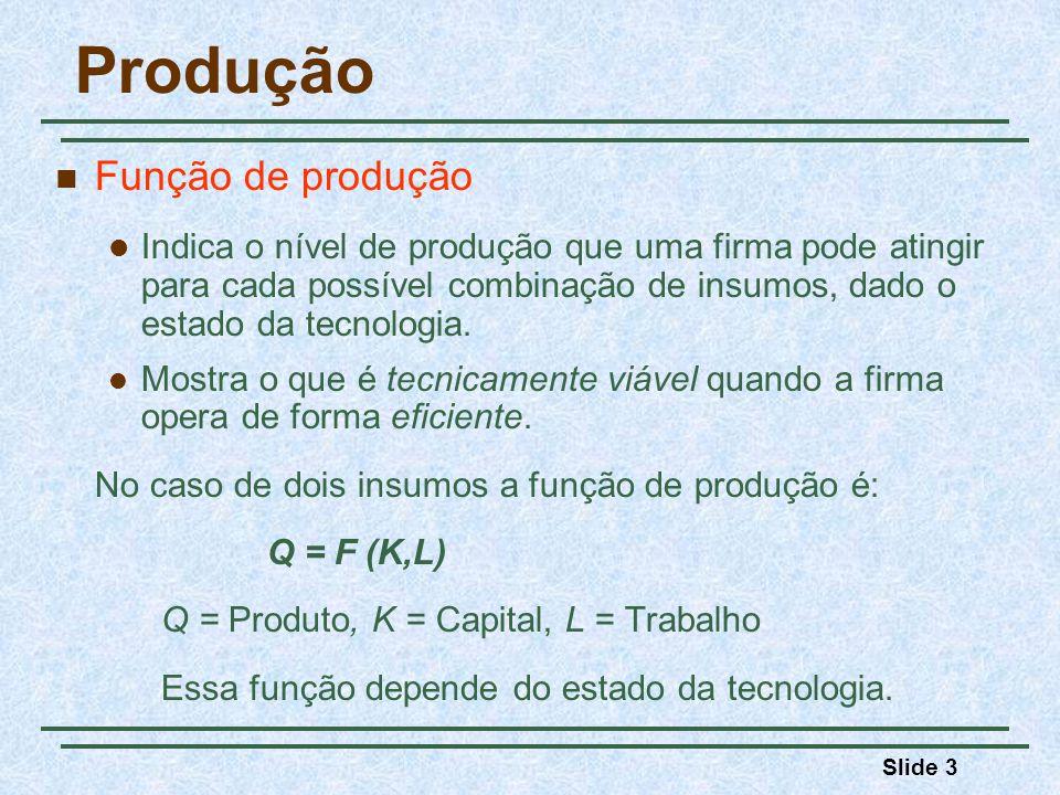 Produção Função de produção