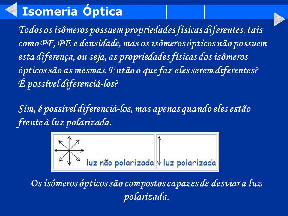 Os isômeros ópticos são compostos capazes de desviar a luz polarizada.