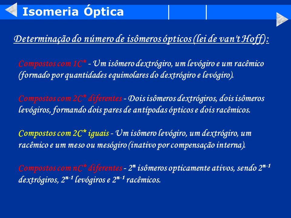 Determinação do número de isômeros ópticos (lei de van t Hoff) :