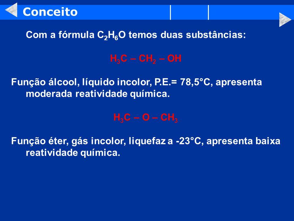 Conceito Com a fórmula C2H6O temos duas substâncias: H3C – CH2 – OH