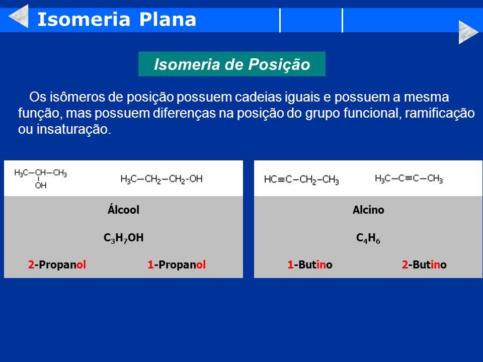 Isomeria Plana Isomeria de Posição Álcool Alcino C3H7OH C4H6