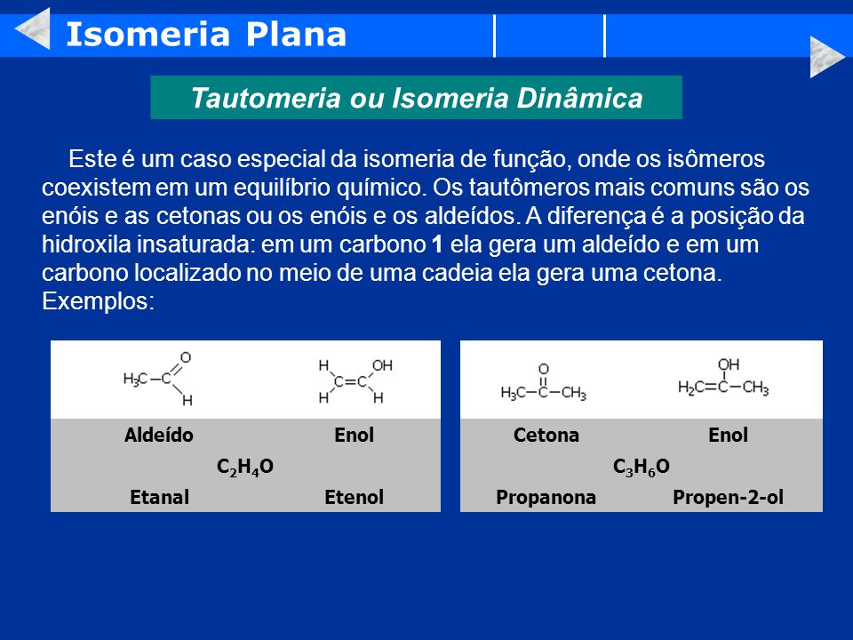 Tautomeria ou Isomeria Dinâmica