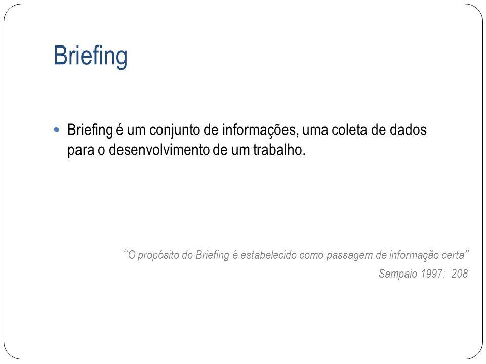 Briefing Briefing é um conjunto de informações, uma coleta de dados para o desenvolvimento de um trabalho.