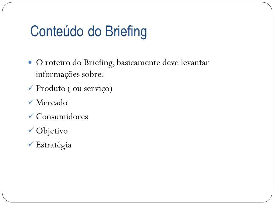 Conteúdo do Briefing O roteiro do Briefing, basicamente deve levantar informações sobre: Produto ( ou serviço)