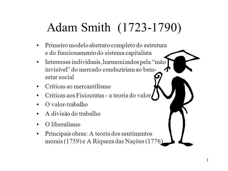 Adam Smith (1723-1790) Primeiro modelo abstrato completo do estrutura e do funcionamento do sistema capitalista.