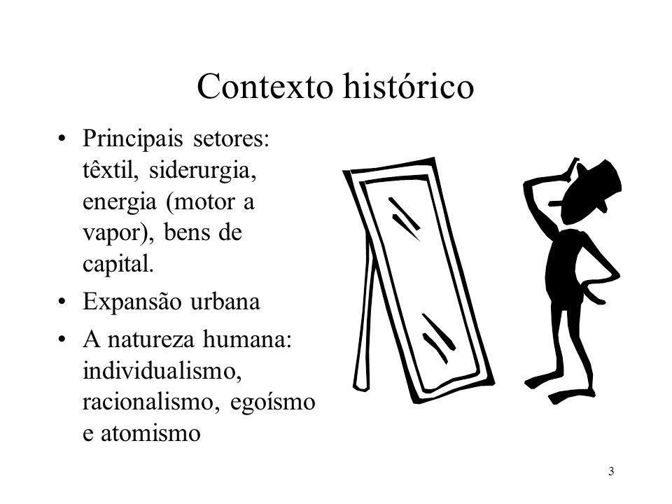 Contexto histórico Principais setores: têxtil, siderurgia, energia (motor a vapor), bens de capital.