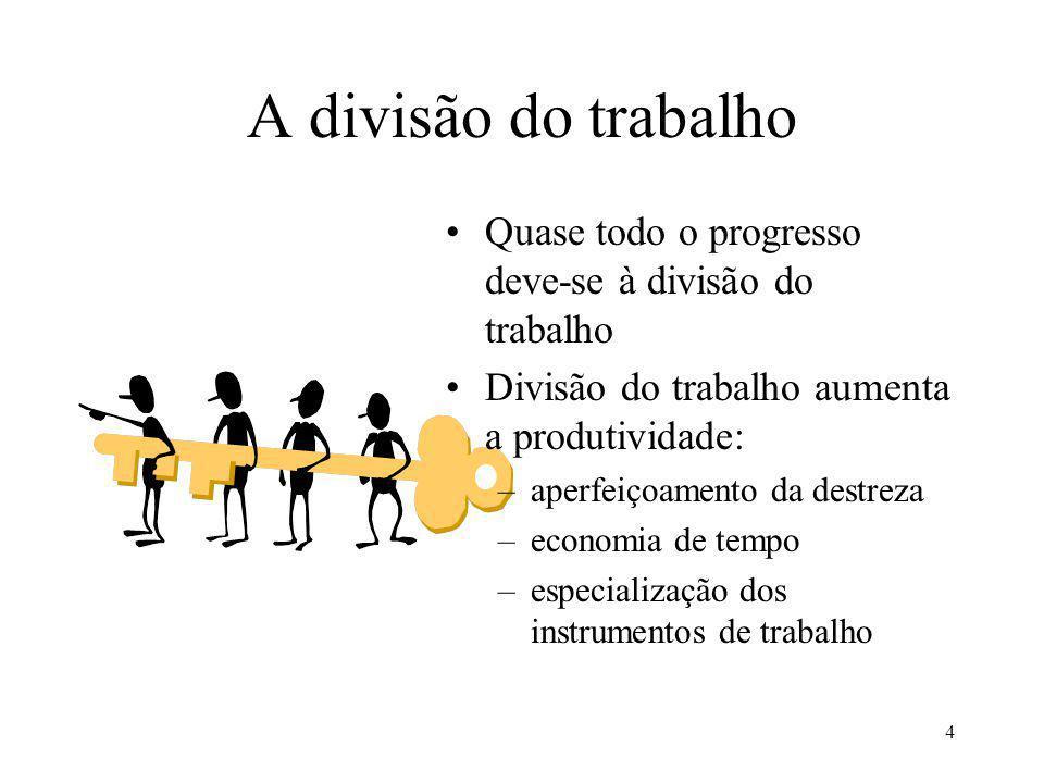 A divisão do trabalho Quase todo o progresso deve-se à divisão do trabalho. Divisão do trabalho aumenta a produtividade: