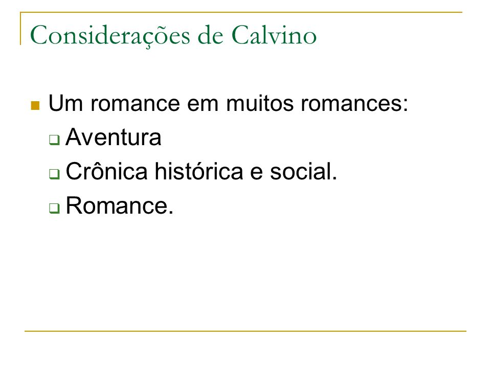 Considerações de Calvino