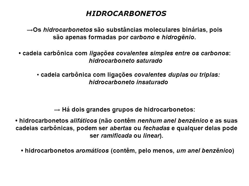 HIDROCARBONETOS →Os hidrocarbonetos são substâncias moleculares binárias, pois são apenas formadas por carbono e hidrogênio.