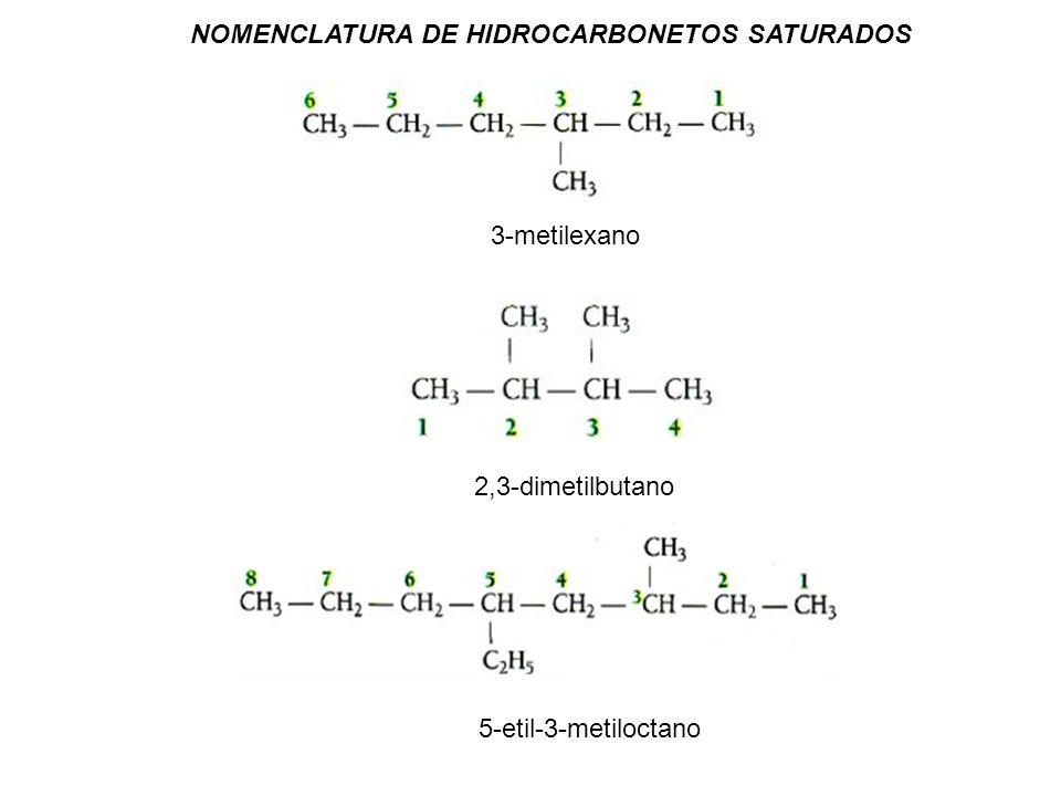 NOMENCLATURA DE HIDROCARBONETOS SATURADOS