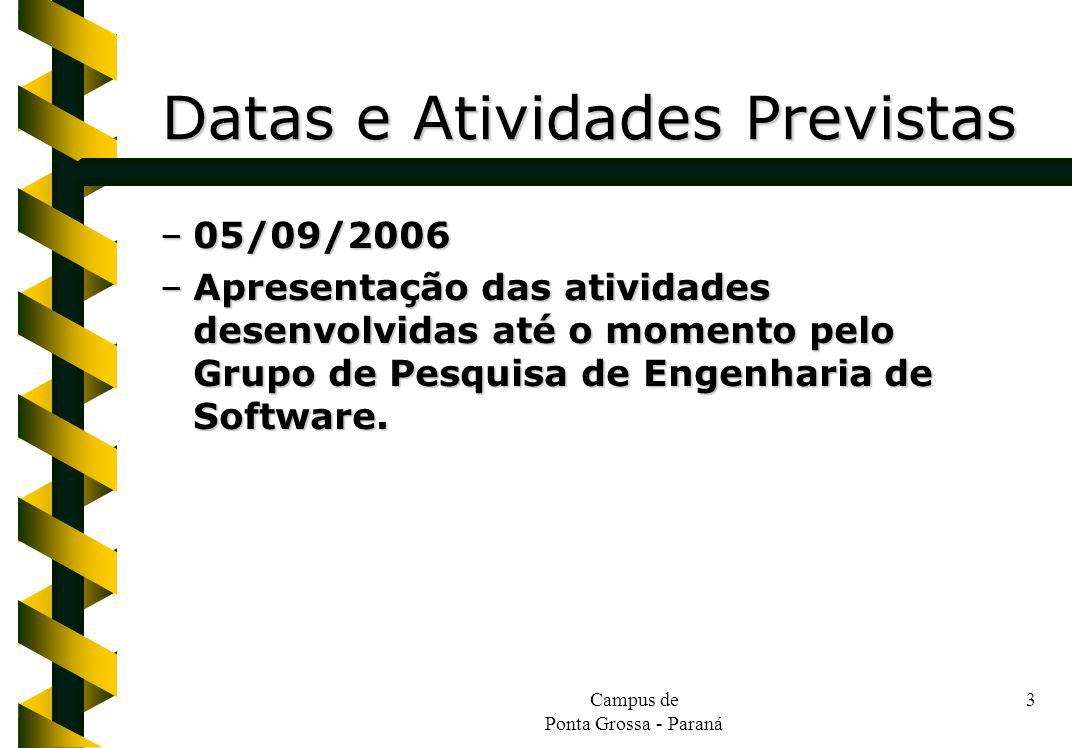 Datas e Atividades Previstas