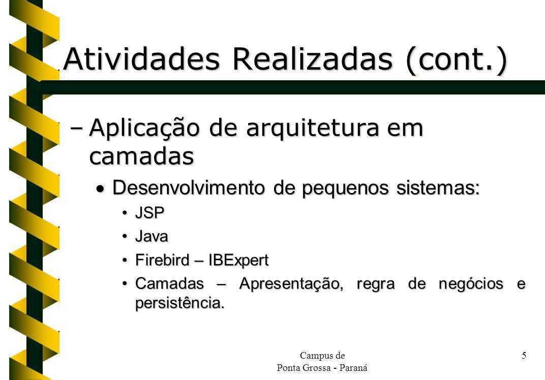 Atividades Realizadas (cont.)