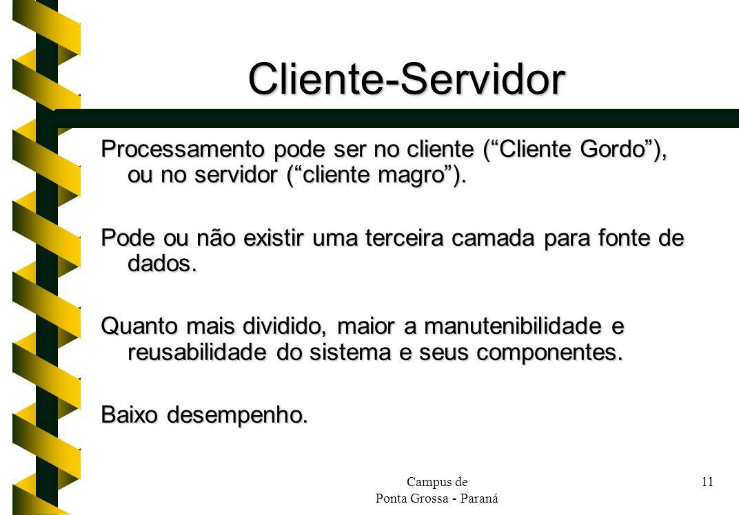 Cliente-Servidor Processamento pode ser no cliente ( Cliente Gordo ), ou no servidor ( cliente magro ).