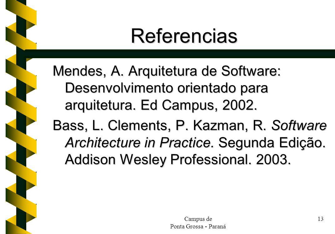Referencias Mendes, A. Arquitetura de Software: Desenvolvimento orientado para arquitetura. Ed Campus, 2002.