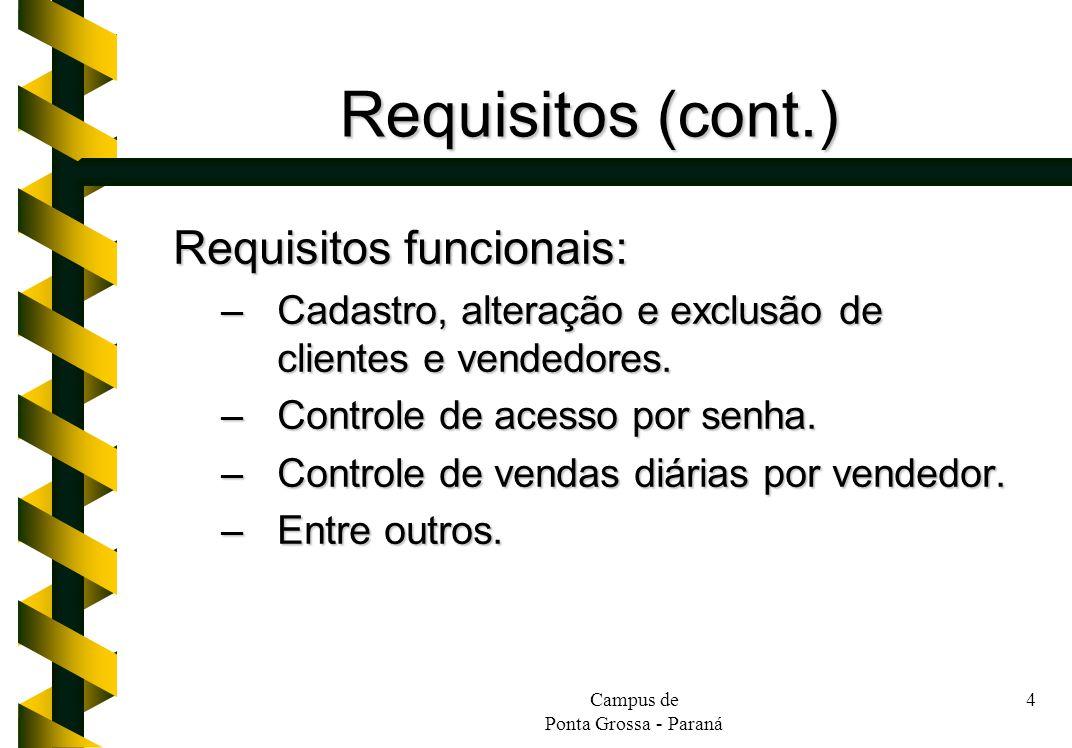 Requisitos (cont.) Requisitos funcionais:
