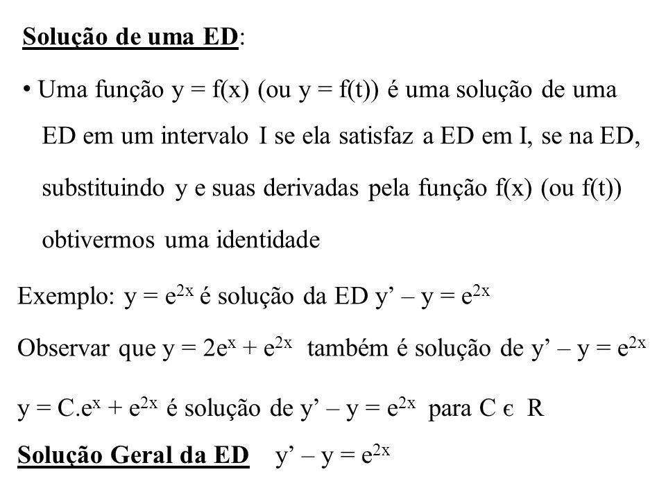Solução de uma ED: Uma função y = f(x) (ou y = f(t)) é uma solução de uma. ED em um intervalo I se ela satisfaz a ED em I, se na ED,