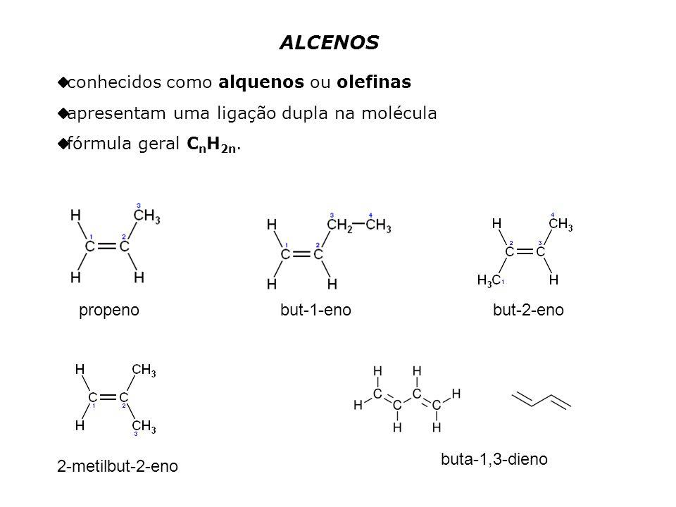 ALCENOS conhecidos como alquenos ou olefinas