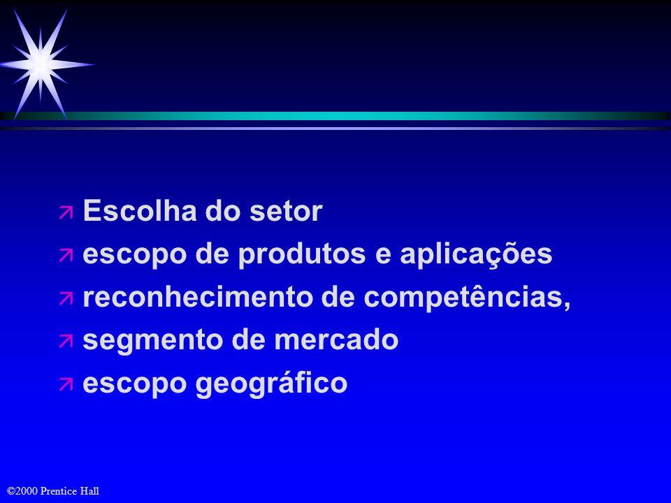 Escolha do setor escopo de produtos e aplicações. reconhecimento de competências, segmento de mercado.