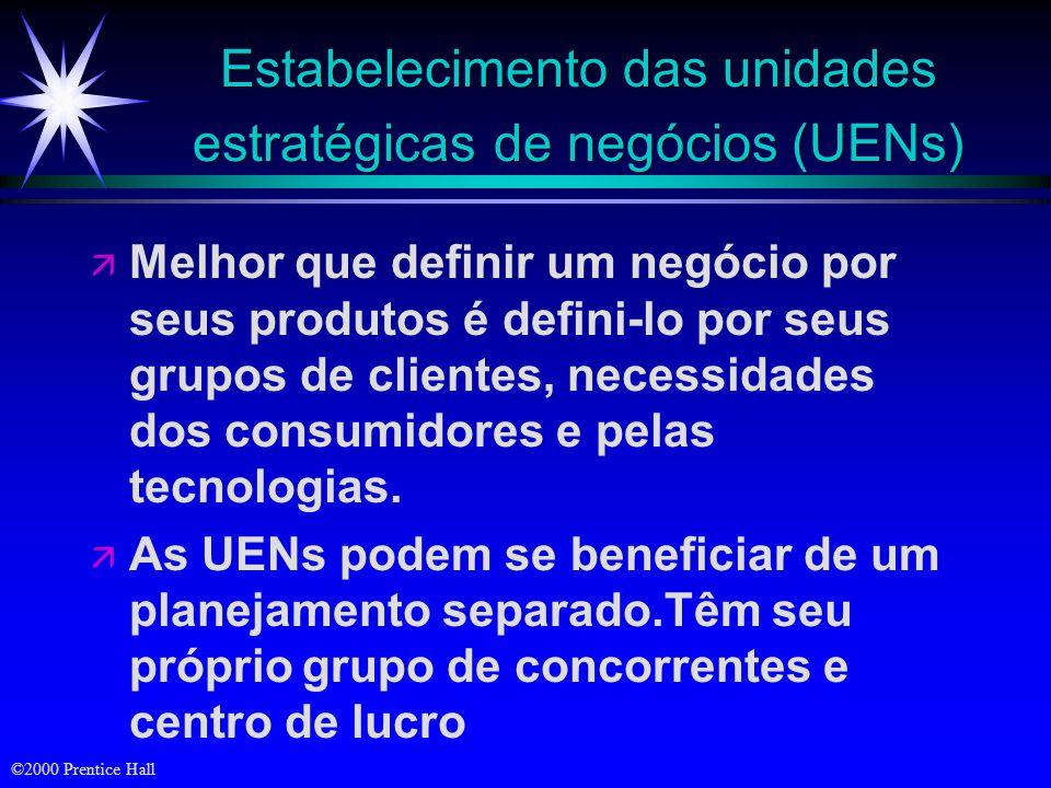 Estabelecimento das unidades estratégicas de negócios (UENs)