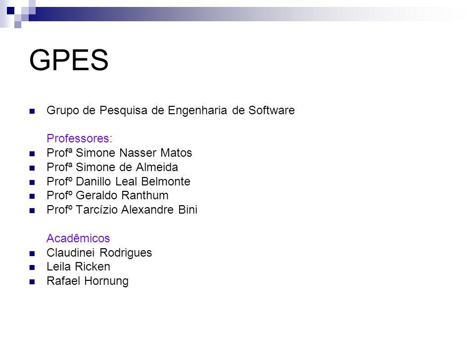GPES Grupo de Pesquisa de Engenharia de Software Professores: