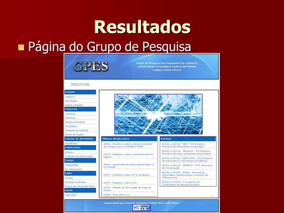 Resultados Página do Grupo de Pesquisa