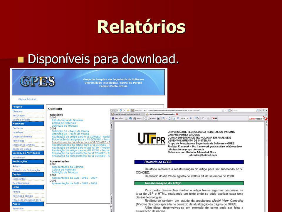 Relatórios Disponíveis para download.