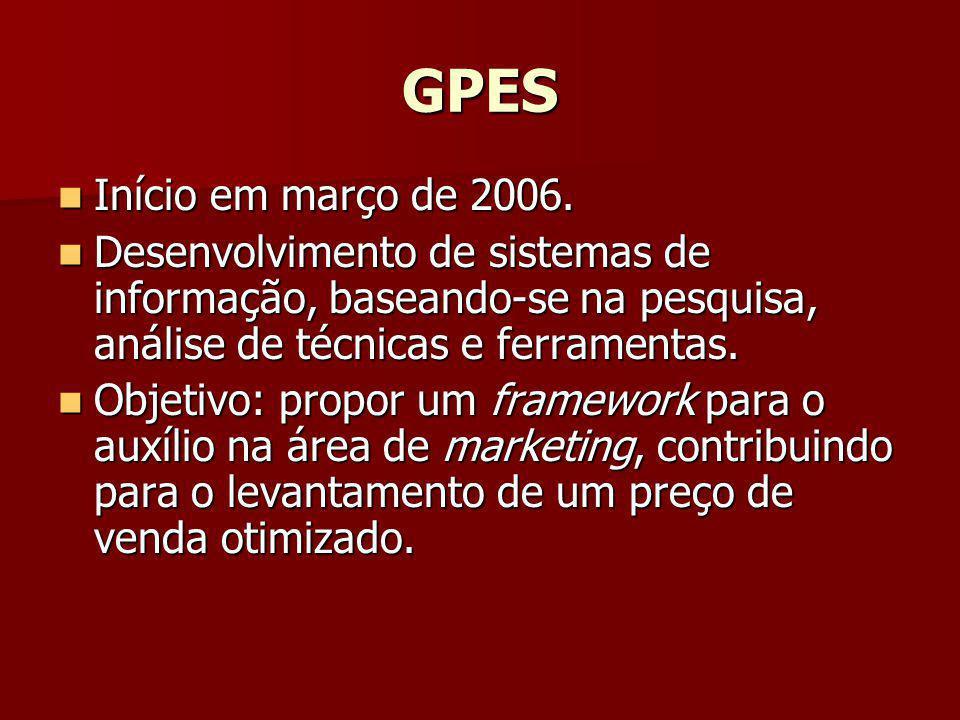 GPES Início em março de 2006. Desenvolvimento de sistemas de informação, baseando-se na pesquisa, análise de técnicas e ferramentas.