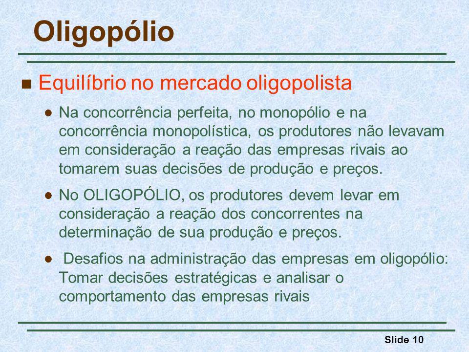 Oligopólio Equilíbrio no mercado oligopolista