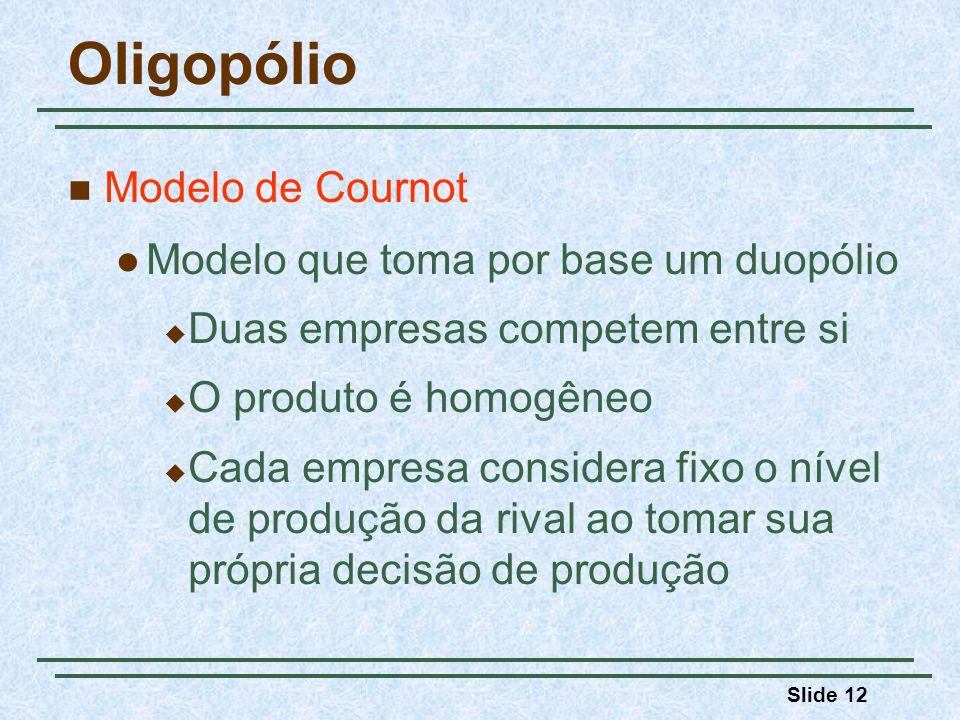 Oligopólio Modelo de Cournot Modelo que toma por base um duopólio